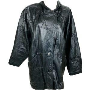 Vintage Leather 80s Pelle Black Coat Button